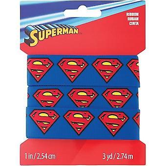 "Wrights DC Comics Grosgrain Ribbon 1""X3yd-Superman Logo"