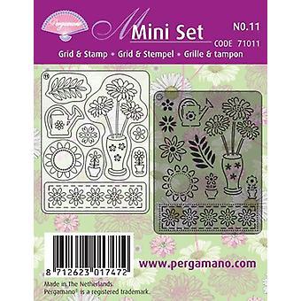Pergamano Mini Set Grid & Stamp 11 Spring Flowers