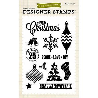 Echo Park Peace Love Joy 4x6 Inch Clear Acrylic Designer Stamps