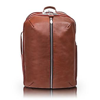 """18894, U Series, Englewood 17"""" Leather, Triple Compartment, Carry-All, Laptop & Tablet Weekend Backpack - Brown"""