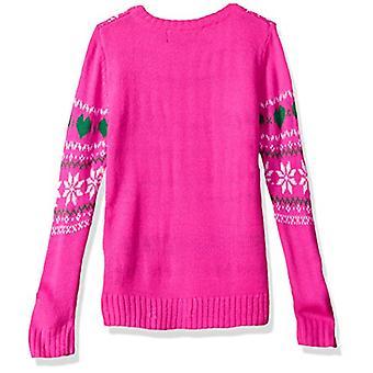 Blizzard Bay Girls' Big Fuzzy Llama W/Sequin Xmas Sweater, Pink Combo, M 10/12
