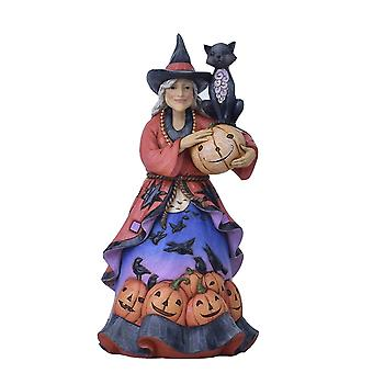 Jim Shore Heartwood Creek Halloween Friendly Witch With Black Cat Statue Figurine