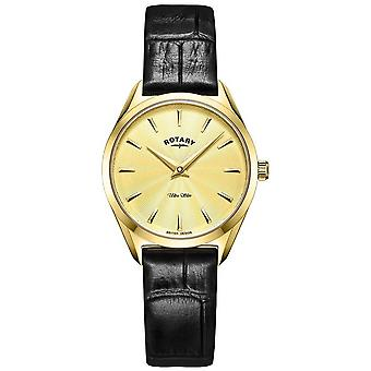 Rotary Ultra Slim Ladies Gold Leather LS08013/03 Watch