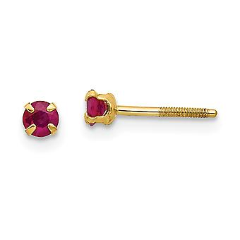 14k Yellow Gold Polished Screw back Post Earrings 3mm Ruby for boys or girls Earrings Measures 4x4mm