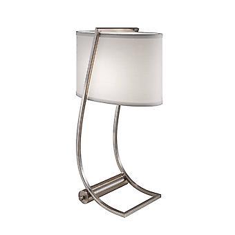 1 Leichte Tischleuchte gebürsteter Stahl, E27