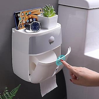 Semi-automatic, Double Outlet Toilet Paper Holder And Storage Box