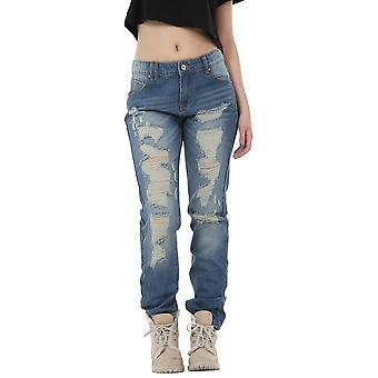 Vintage Wash Style Faded Ripped Distressed Frayed Boyfriend Jeans