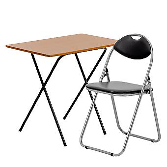 2 Piece Folding Desk and Chair Set - Wooden Top - Brown/Black