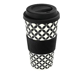 Reusable Coffee Cup - Bamboo Fibre Travel Mug with Silicone Lid, Sleeve - 400ml (14oz) - Circles - Black