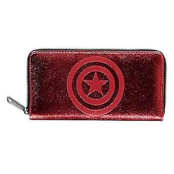 Captain armerica Purse Classic Shield Logo new Official Red Zip Around