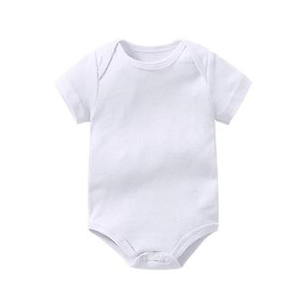 Baby Creeper Baby Rompers Short Sleeve Clothing, Pure Cotton Soft White