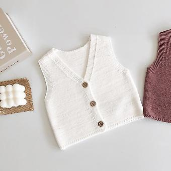 Baby Girl Vest- Boys / Girls All-around 0-2-year-old Cardigan Cotton Yarn Knitted Sweater Vest Coat