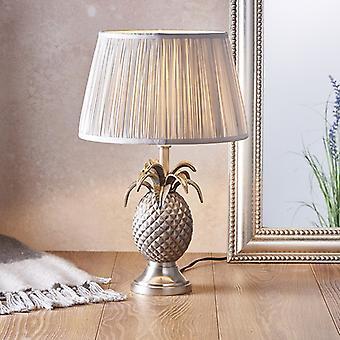 Endon Beleuchtung Ananas & Freya - Tischlampe Zinn Platte & Silber Seide 1 Licht IP20 - E27