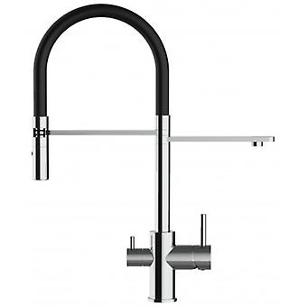 3 Way Kitchen Filter Sink Mixer With Black Spring Spout And 2 Jet Spray, Works With All Water Filter System - 164