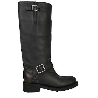 Ash Tank01 Frauen's schwarze Lederstiefel