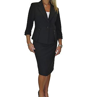 Women's Business Designer Look Fully Lined 2 Piece Suit Ladies Smart Button Blazer Skirt Suit 8-16