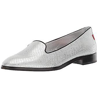Marc Joseph New York Womens Genuine Leather Made in Brazil Columbus Circle Flat Ballet, Silver/Metallic Snake, 9.5 M US