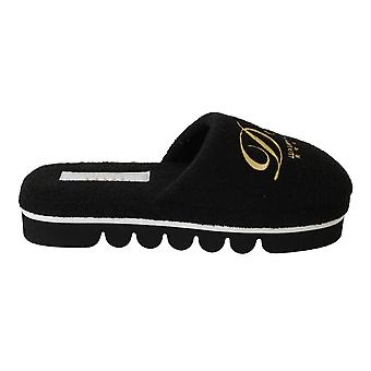 Black Cotton Slippers Flats Luxury Hotel Schuhe
