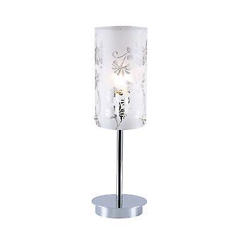 Lámpara de mesa moderna Chrome 1 Luz con sombra mate, E27