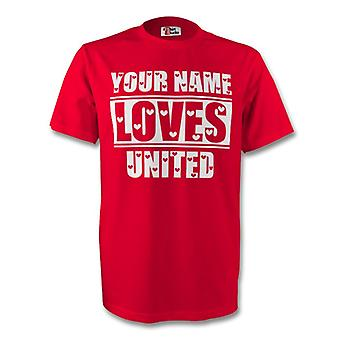 Your Name Loves Man Utd T-shirt (red)