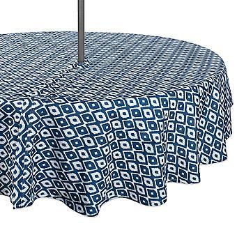 Dii Blue Ikat Mantel al aire libre con cremallera 60 ronda