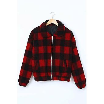 Manteau veste Sherpa à carreaux pour femmes et apos;s