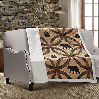 Spura Home Wedding Ring Bear and Paw Patchwork Quilted Sherpa Throw Blanket sofa Bed