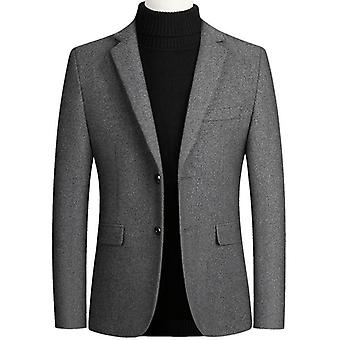 Men's Blazer Wool Thick, Classic Business Suits Jacket, Male Luxurious Slim