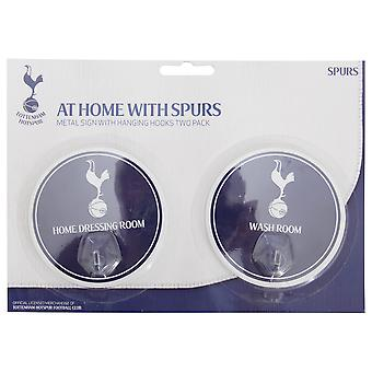 Tottenham Hotspur FC Official 2 Pack Football Crest Signs With Hooks