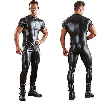 Pu Leather Catsuit, Tight Skin Full Bodysuit/jumpsuit, Front Zipper Open Crotch