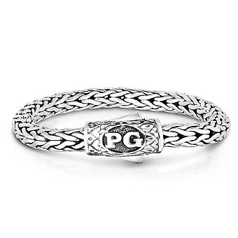 Sterling Silver With Rhodium Finish Round Woven Mens Bracelet, 8.25""