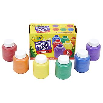 Peinture de projet lavable, couleurs classiques, bouteilles de 2 onces, 6 count