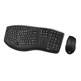 Adesso Kabellose ergonomische Tastatur und optische Maus