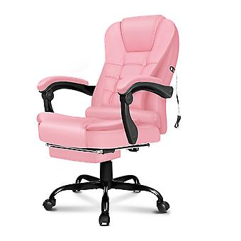 ELFORDSON Massage Office Chair with Footrest Executive Gaming Seat Leather Pink