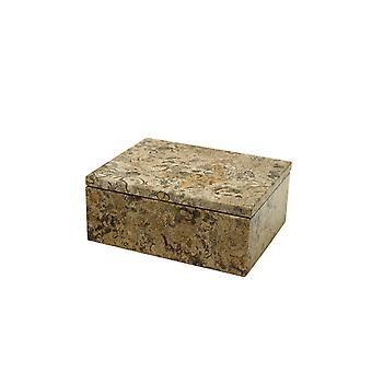 "Spura Home Asteria Collection 5"" Fossil Stone Marble Polished Finish Rectangular Box"