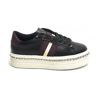 Women's Shoes Gold&gold Sneaker Fondo Platform In Black Faux Leather D20gg38