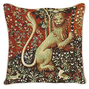 Signare Tapestry Art - Couverture coussin inspirée par Lady and Unicorn (Lion) 43x43cm