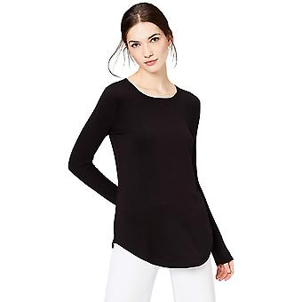 Brand - Daily Ritual Women's Supersoft Terry Long-Sleeve Shirt With Shirttail Hem, Black, X-Small