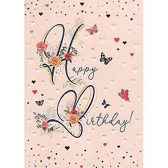 ICG Ltd Pretty In Peach Birthday Card-happy Birthday