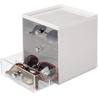 HanFei Aufbewahrungsbox fr Brillen & Brillenablage aus Kunststoff mit 3 Schubladen &
