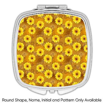 Gift Compact Mirror: Smoky Sunflowers Golden