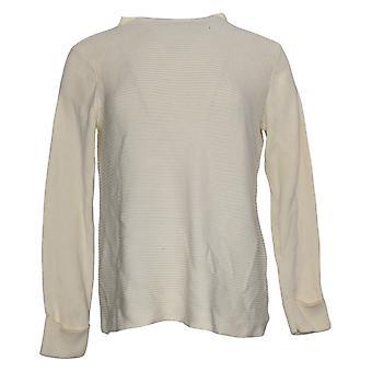 LOGO by Lori Goldstein Women's Sweater Asymmetric Hem White A387581