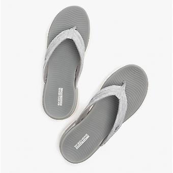 Skechers On-the-go Flex Ladies Linen Flip Flops Grey