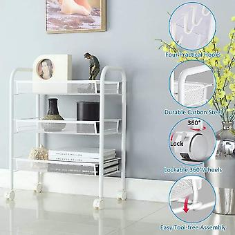 FengChun 3 Etagen Küchenwagen, Haushaltswagen mit Abschließbaren Rädern, Metall Rollwagen