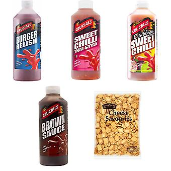 Crucials Kit 5 Products, Crucials Thai Sweet Chilli, Caribbean Sweet Chilli, Brown Sauce, Burger Relish 500ml, Crawford's Cheese Savouries 300G