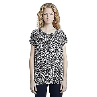 Tom Tailor Musterbluse T-Shirt, 23205/Navy Small Leo Desig, 44 Femme
