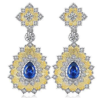 Gemshadow women 925 sterling Silver CZ drop earrings and 925, color: Sapphire Blue, cod. AQED000030