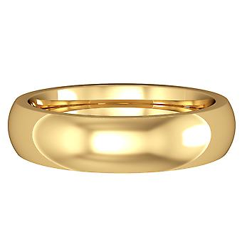 Jewelco London 18ct Yellow Gold 5mm Premium Court-Shaped Wedding Band Commitment Ring