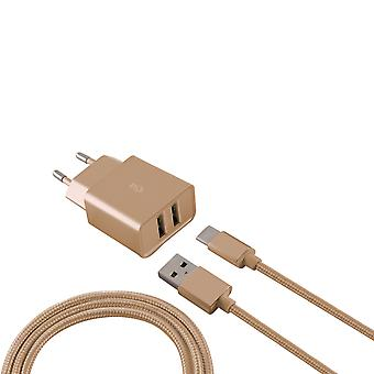 Ksix - Metalen Stopcontact met Micro USB Kabel - metaalGoud