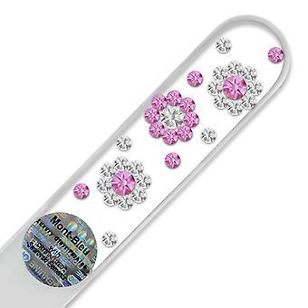 Mont Bleu 3 Blumen Kristall Nagelfeile LE-2 - Rose - Crystal